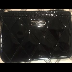 Coach Black Patent Quilted Wristlet